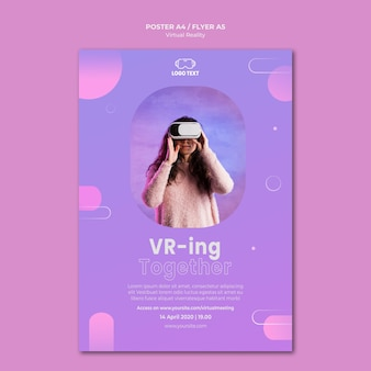 Play together virtual reality poster template