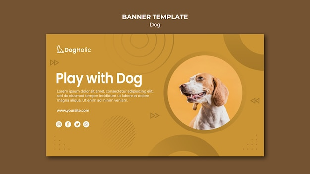 Play with dog banner template