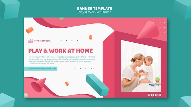 Play & work at home concept banner template