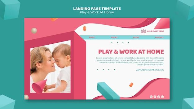Gioca e lavora a casa modello di pagina di destinazione del concetto