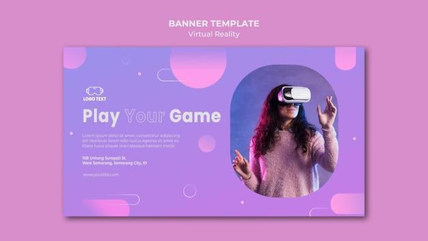 Play your game on virtual reality banner template
