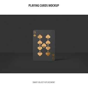 Playing cards with golden foil mockup