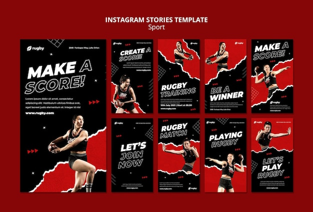 Playing rugby instagram stories template