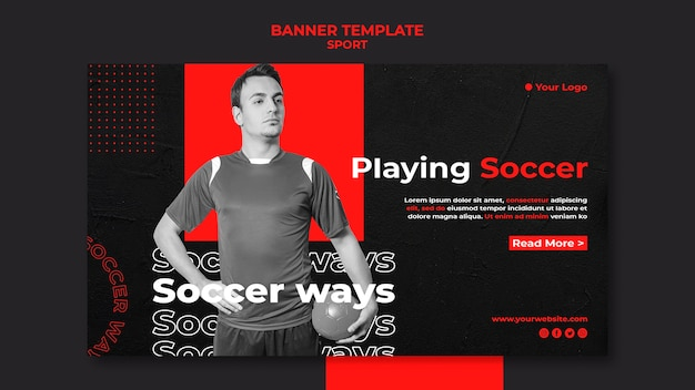 Playing soccer banner template