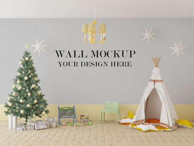 Playschool wall mockup for christmas and new year eve
