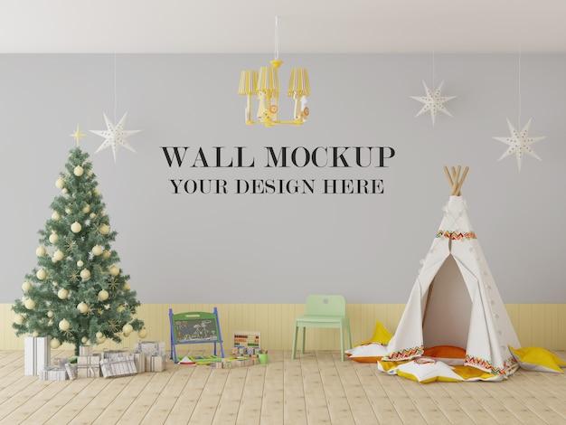 Мокап стены детской школы на рождество и новый год
