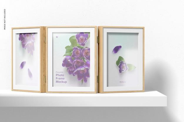 Мокап plegable photo frame, вид спереди