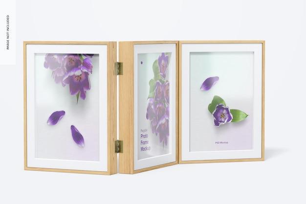 Мокап plegable photo frame, вид слева