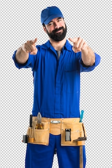 Plumber pointing to the front