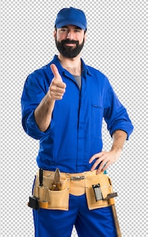 Plumber with thumb up
