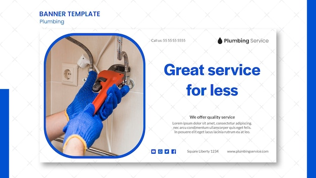 Plumbing great service banner template