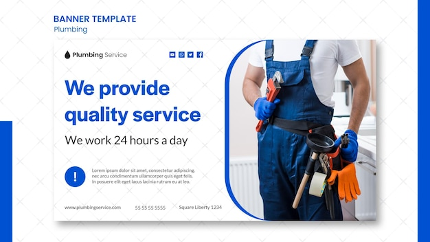 Plumbing quality service banner template