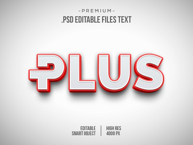 Plus 3d text effect, 3d white red text style effect