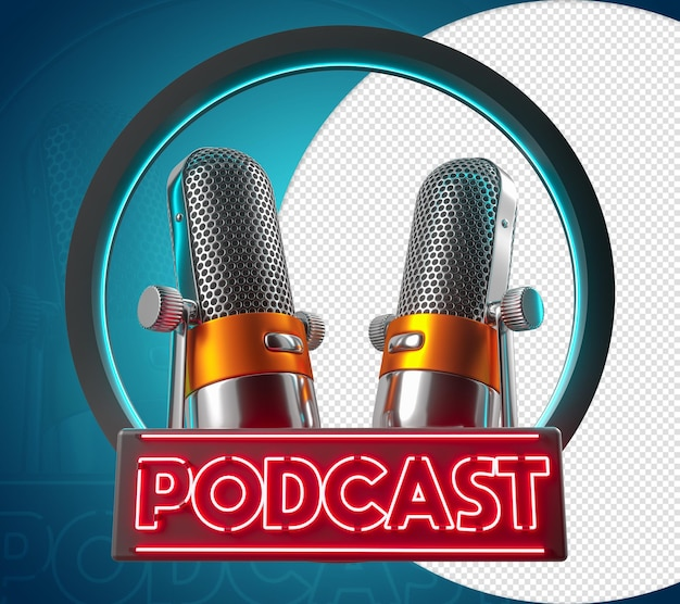 Podcast 3d blue circle microphone red name