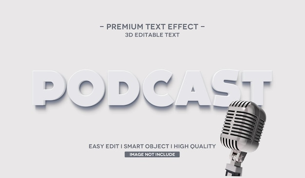 Podcast 3d text style effect