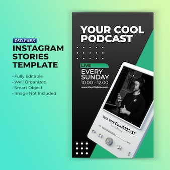 Шаблон канала подкаста для продвижения историй в социальных сетях