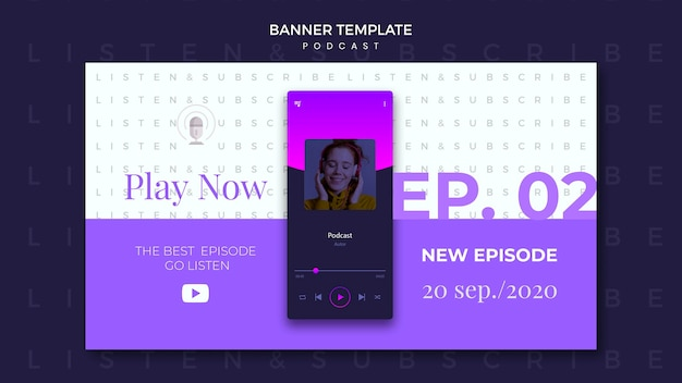Podcast concept banner template