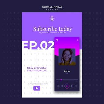 Podcast concept flyer template