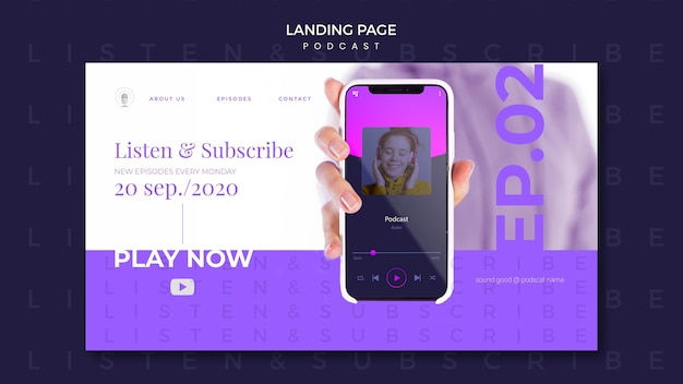 Podcast concept landing page template