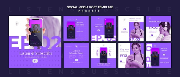Podcast concept social media post template