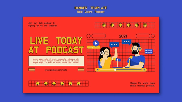 Podcast horizontal banner template with illustrations