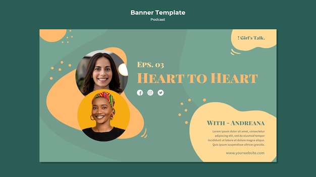 Podcast horizontal banner template