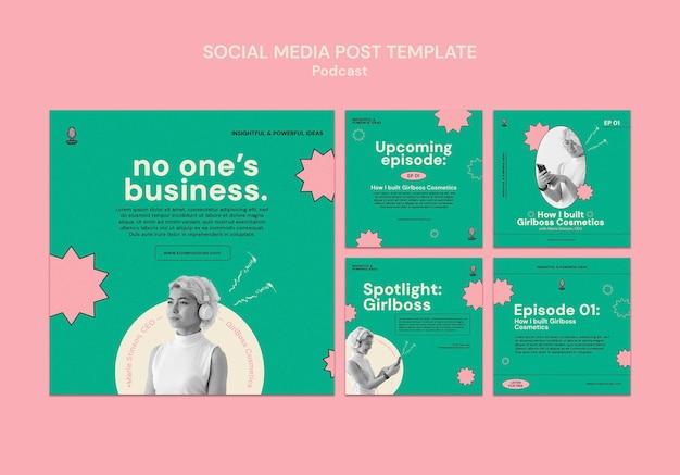 ポッドキャストinstagramの投稿テンプレートデザイン