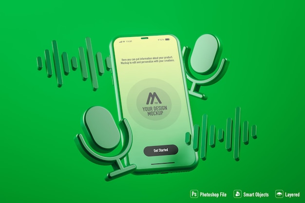 Podcast mobile application mockup isolated on green background