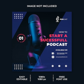 Podcast modelling channel social media template