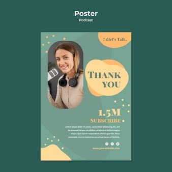 Modello di poster di podcast con foto