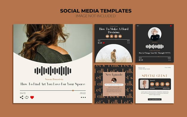 Шаблоны публикаций в социальных сетях для подкастов в instagram