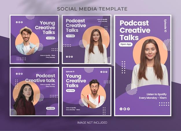 Дизайн шаблона пакета социальных сетей подкаста