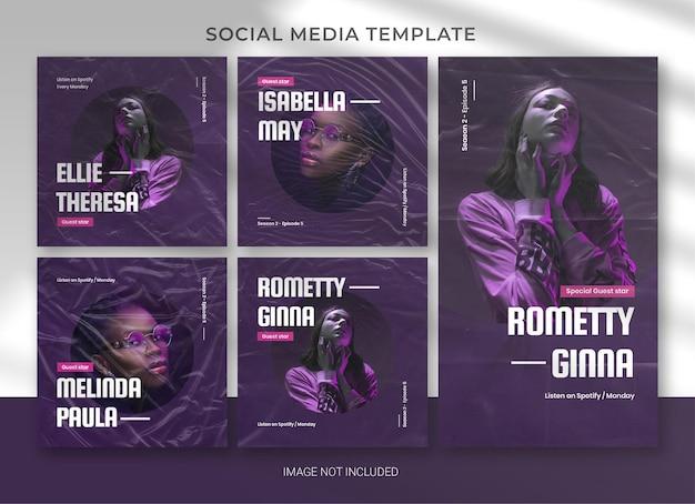 팟 캐스트 소셜 미디어 팩 번들 템플릿