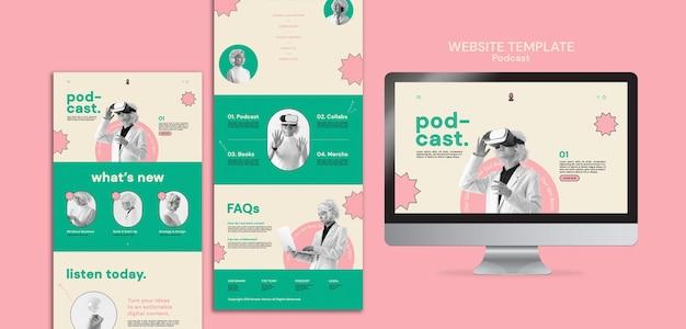 ポッドキャストのウェブサイトのテンプレートデザイン