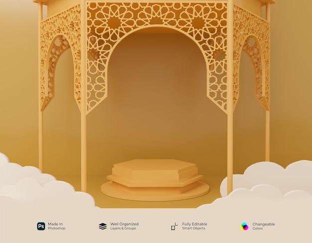 Podium 3d realistic symbols of arab islamic ramadhan kareem and eid mubarak