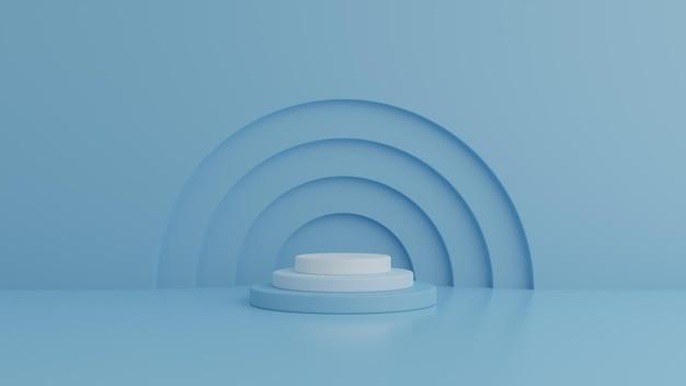 Подиум и минималистичный подиум с синей стеной