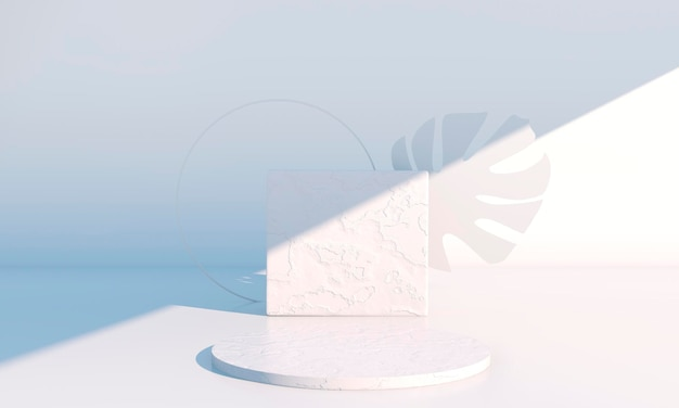 Podium decorated with leaves in 3d rendering