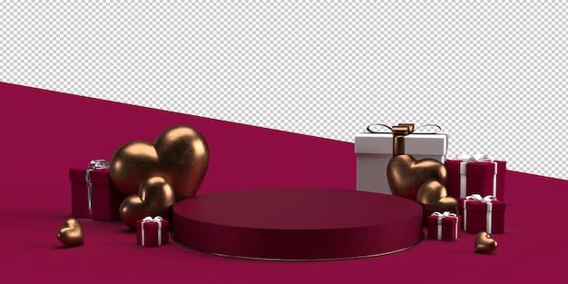 バレンタインデーのプロダクトプレースメントの表彰台と装飾
