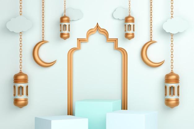 Исламское оформление подиума с арабским полумесяцем и фонарем