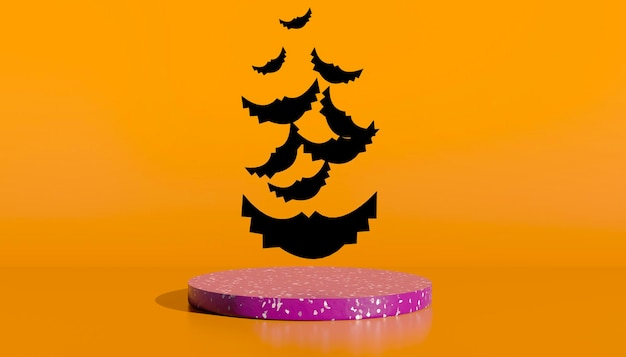 Podium and minimal abstract background for halloween, 3d rendering geometric shape. 3d illustration.
