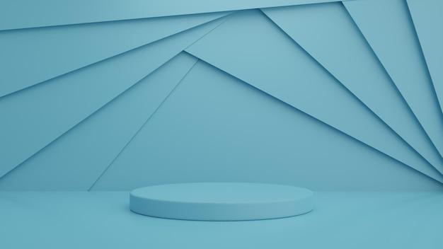 Podium and minimal blue wall scene podium