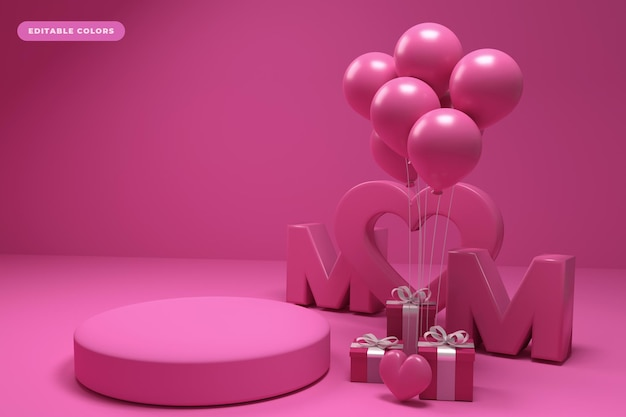 Podium mother s day 3d rendering