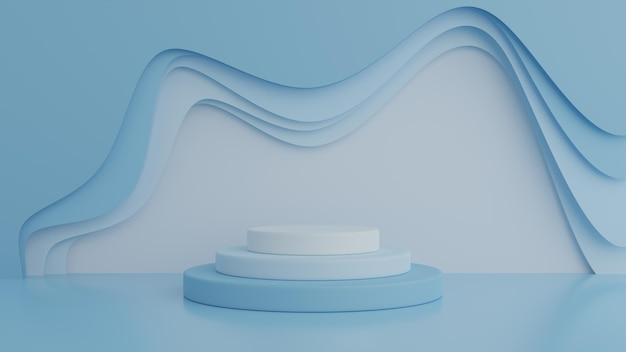제품에 대 한 파란색 배경에 연단입니다. 최소한의 개념. 3d 렌더링