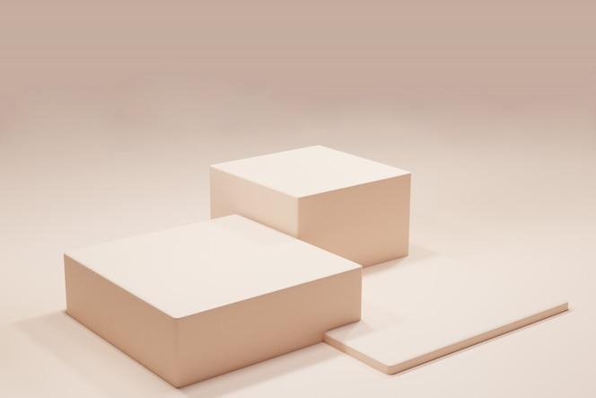 최소한의 디자인으로 방 안의 연단 또는 플랫폼
