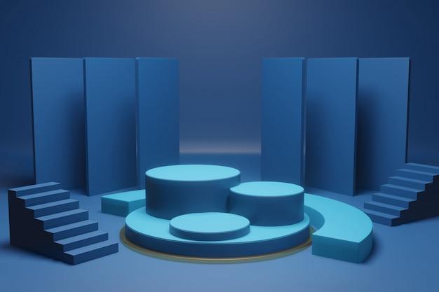 Podium or platform inside a room in minimal design