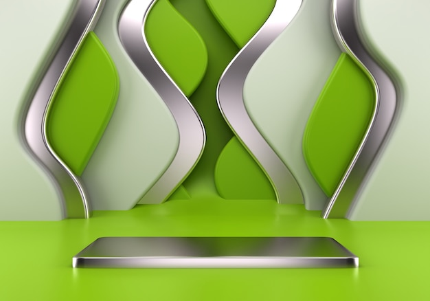 抽象的な波で製品のプレゼンテーションのための表彰台の使用