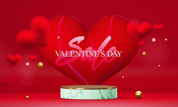 Podium in valentine's day with decorations