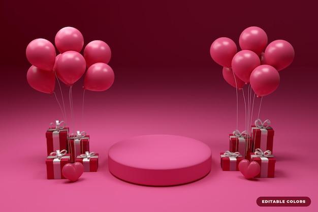Подиум с воздушным шаром день 3d-рендеринга