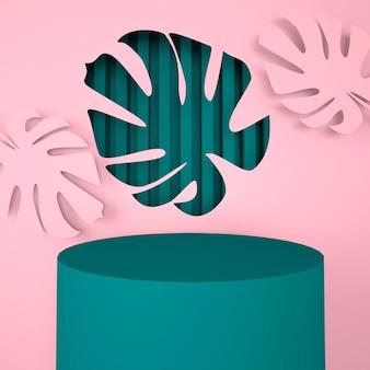 Подиум с листьями монстеры 3d визуализации