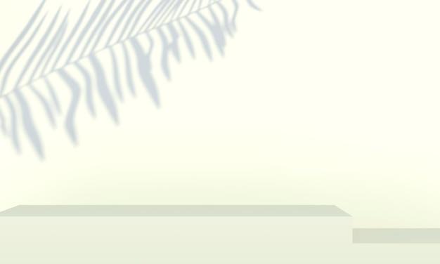 Подиум с пальмовыми листьями на пастельном фоне. витрина сцены сцены концепции для продукта, продвижения, продажи, баннера, презентации, косметики. минимальная витрина пустой макет. 3d